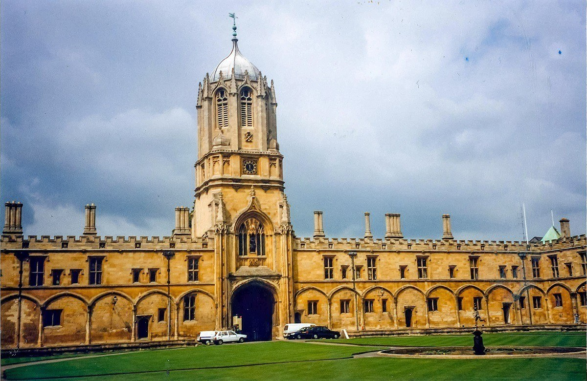 Tower, courtyard, and building at Christ Church at Oxford University