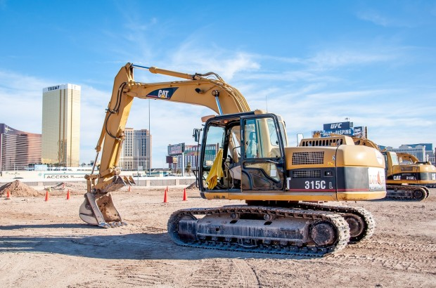 Driving an excavator at Dig This in Las Vegas.