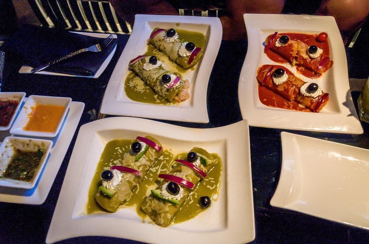 Enchiladas at Javier's Cantina, on a Las Vegas food tour