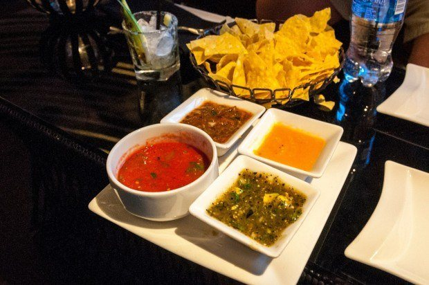 A quartet of salsas at Javier's in Las Vegas.