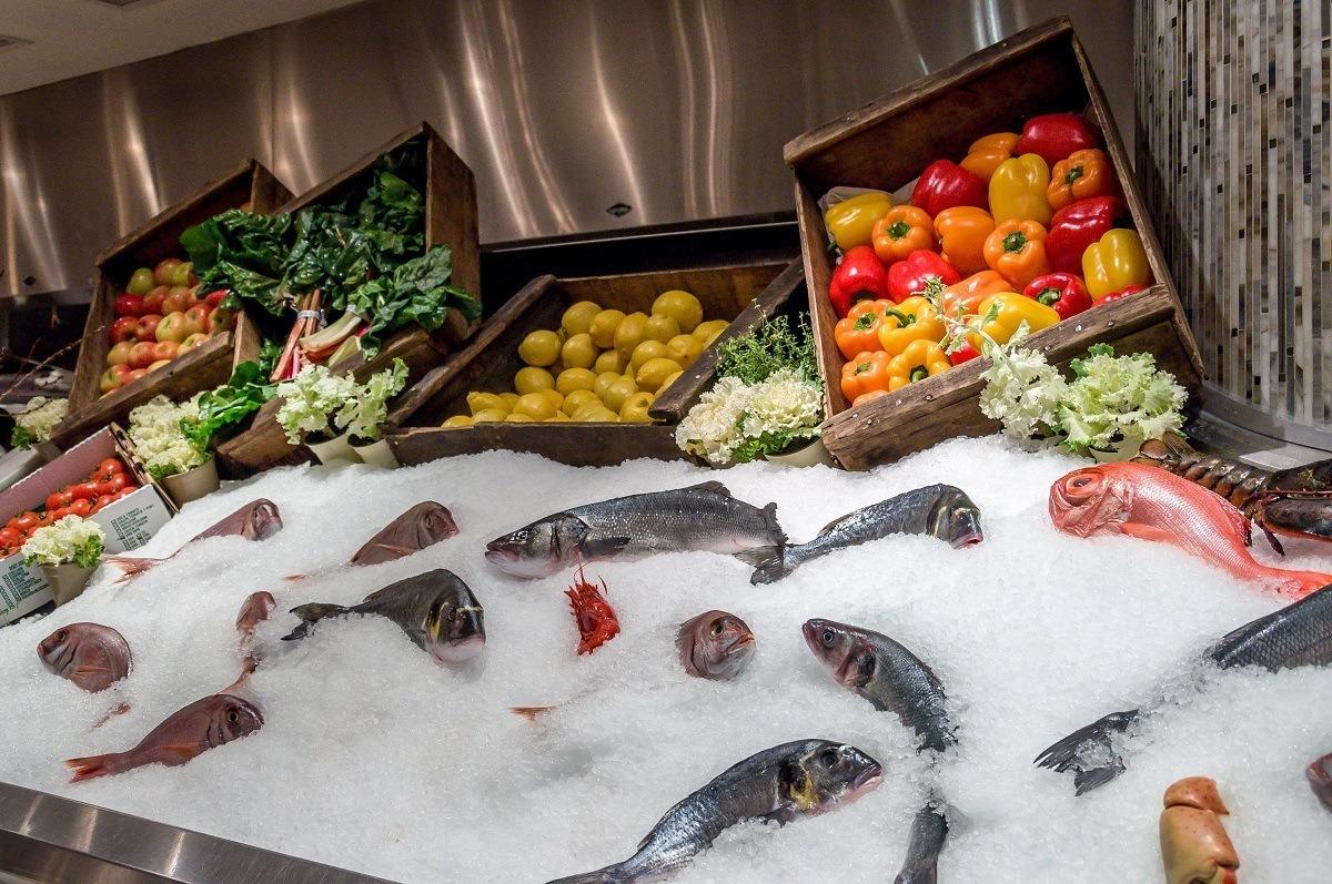 Fresh seafood at Estiatorio Milos on a Las Vegas food tour