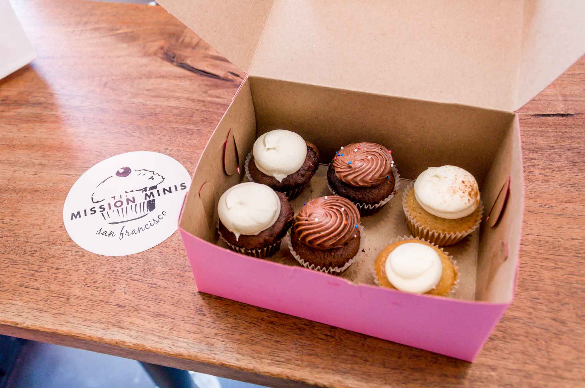 Box full of mini cupcakes from Mission Minis