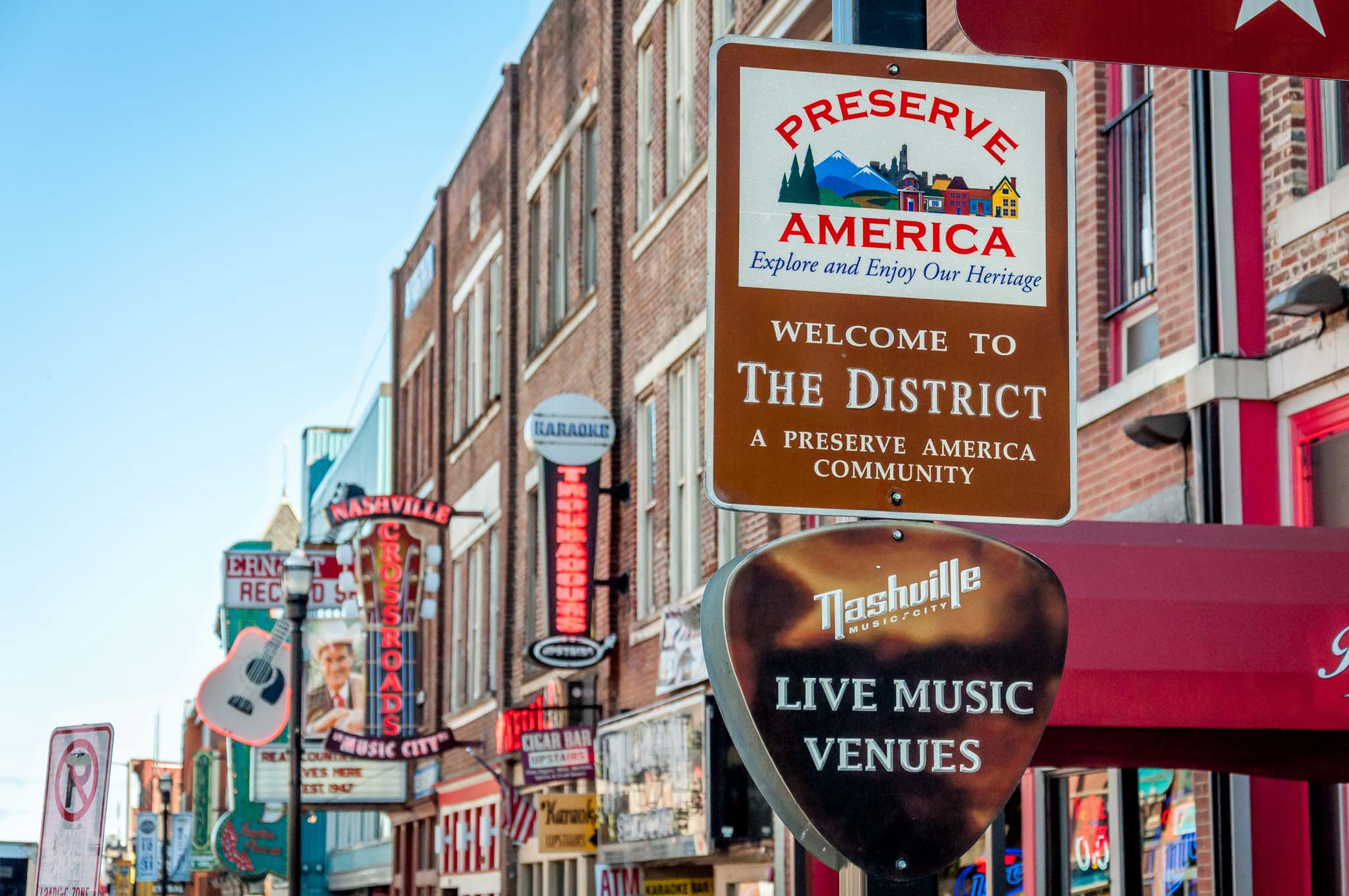 Broadway in Nashville, Tennessee. A visit here is one of the best things to do in Nashville TN.