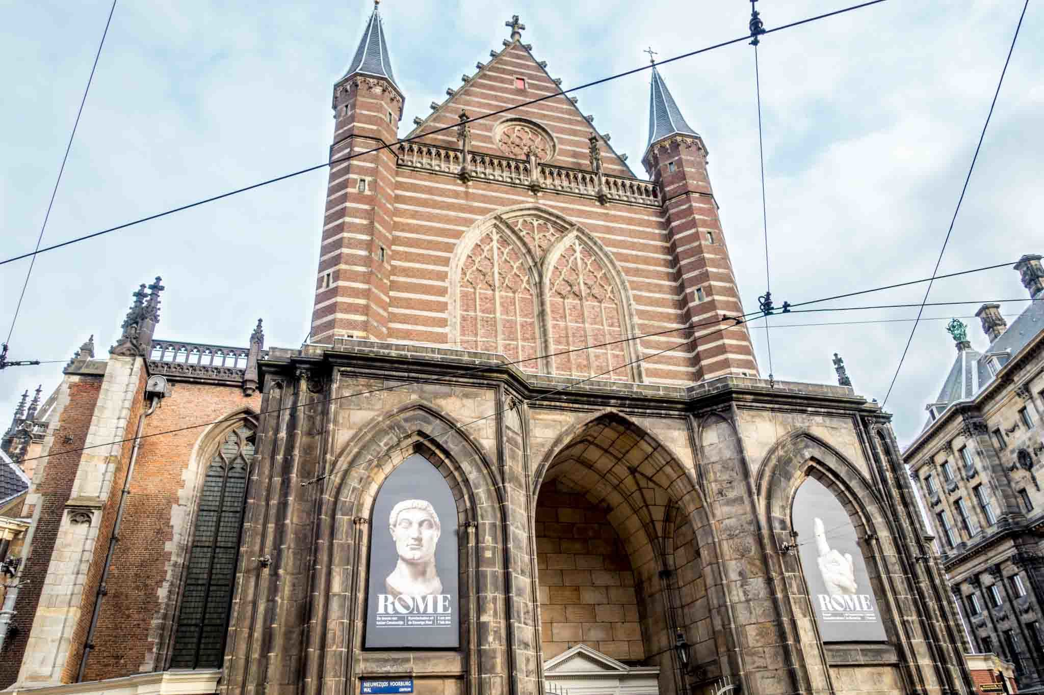 Exterior of Nieuwe Kerk. Seeing the exhibits inside is one of the cool things to do in Amsterdam