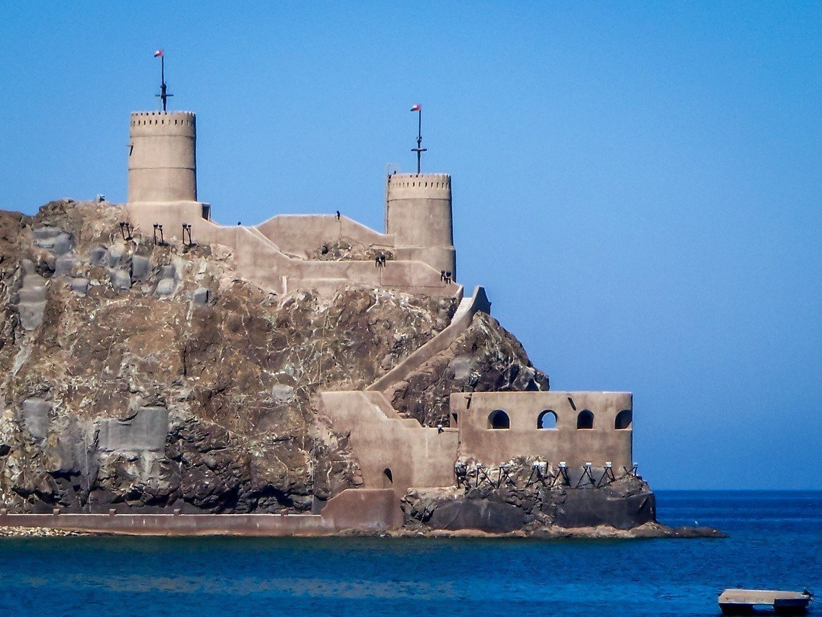 Ancient fort with towers on the coast of Oman
