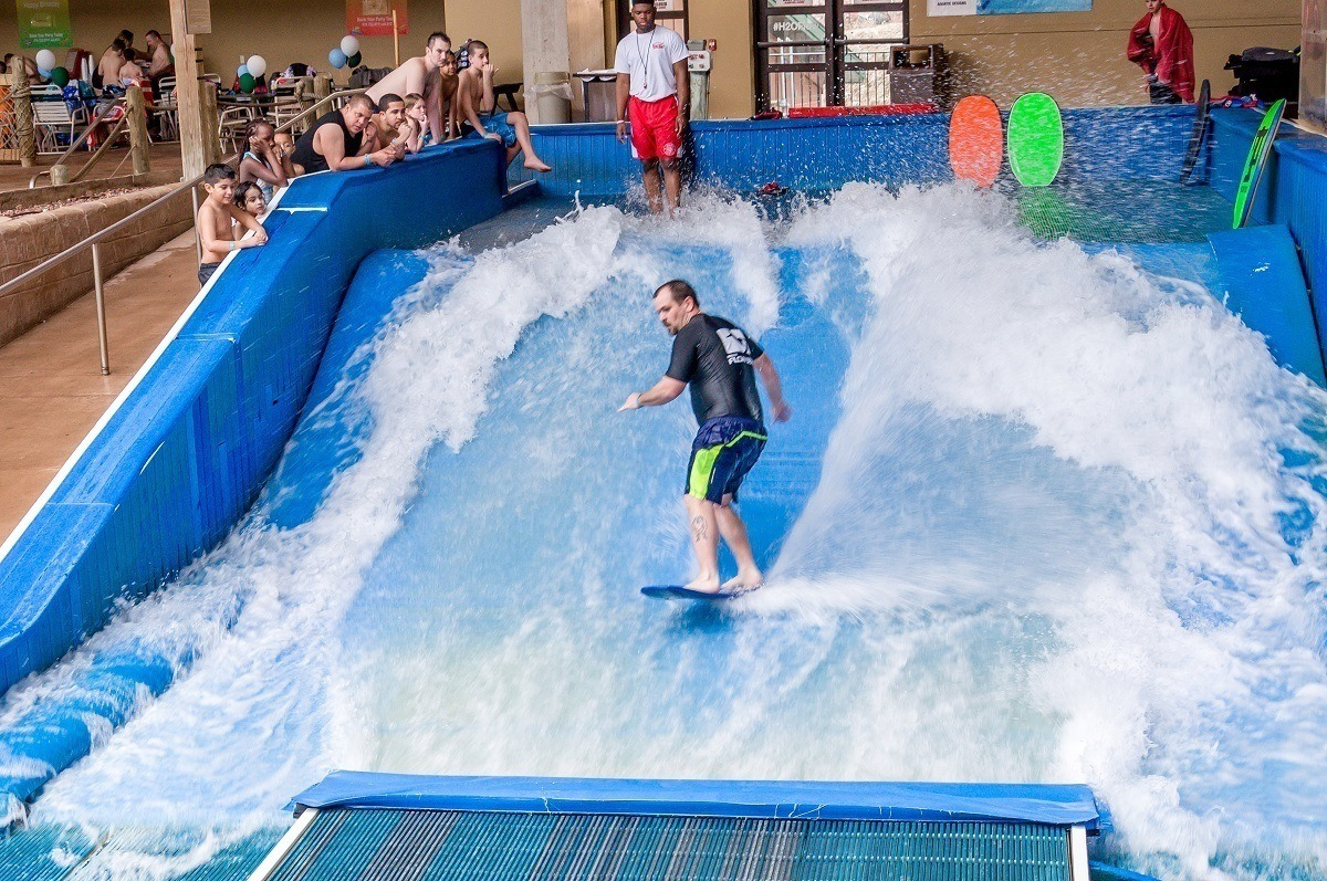 The flow rider at the H2Oooohh!! Waterpark at the Split Rock Resort.