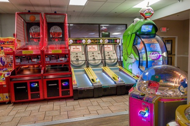 Arcade games at the Split Rock Resort in the Poconos Mountains.