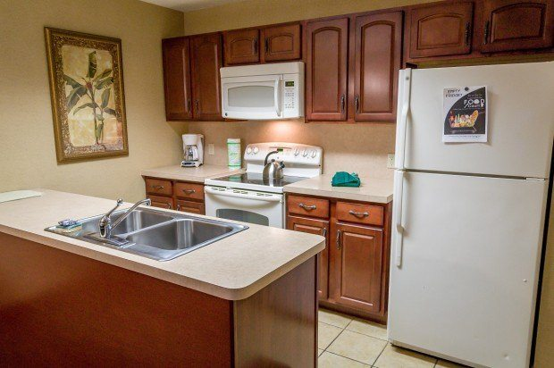 Kitchen in our one-bedroom suite at the Split Rock Resort.