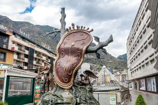 This Dali-inspired sculpture in downtown Andorra la Vella captures visitor's interest.