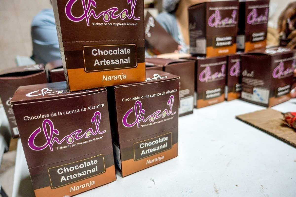 Boxes of chocolate bars at Chocal in the Dominican Republic