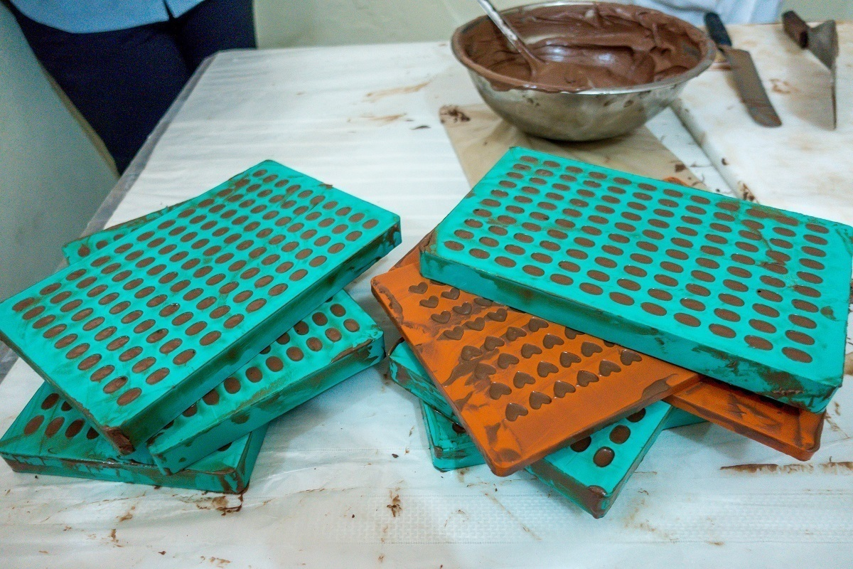 Chocolate molds at Chocal chocolate cooperative