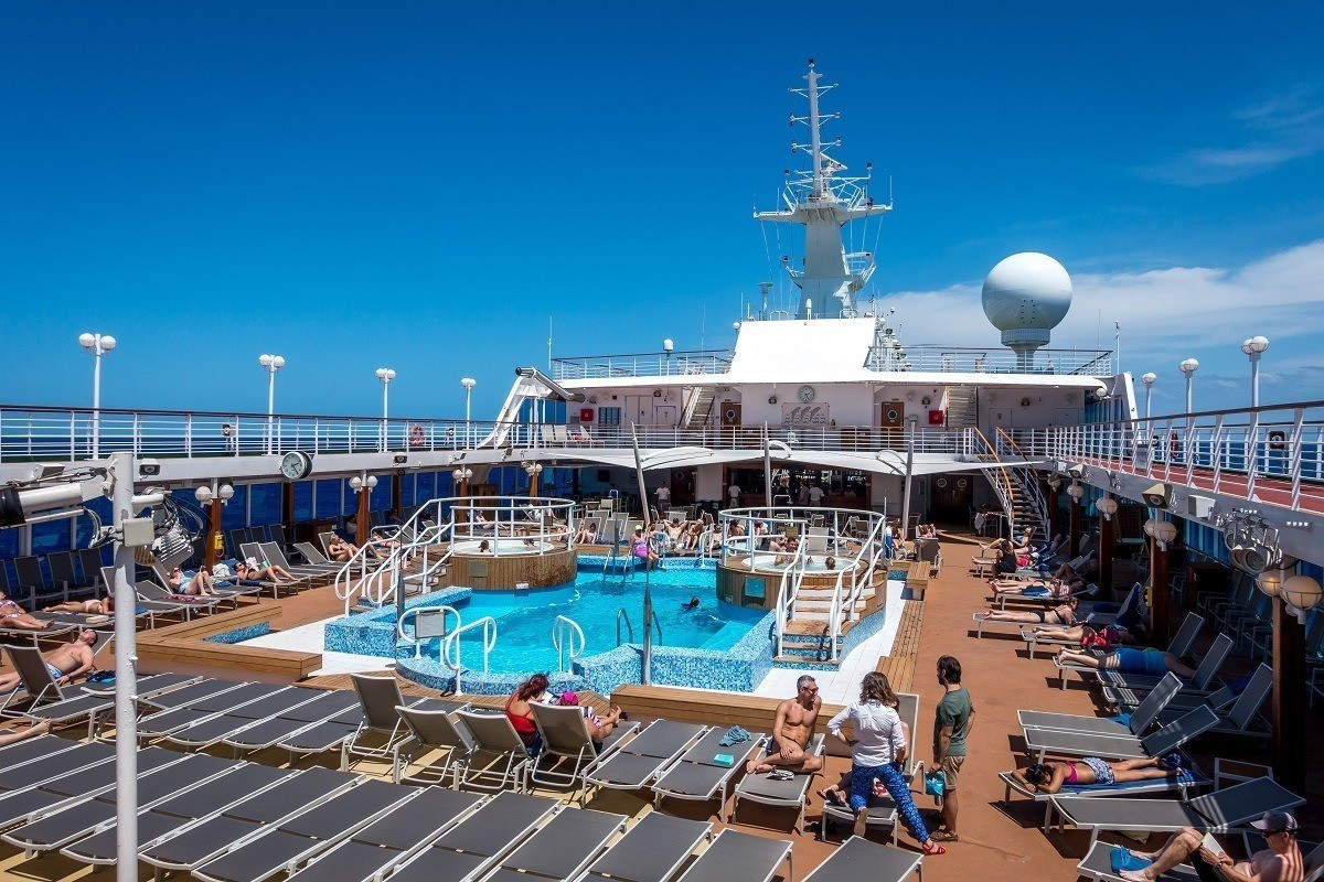 The Lido deck on Fathom's Adonia cruise ship is the perfecct place to hang out on a sunny afternoon