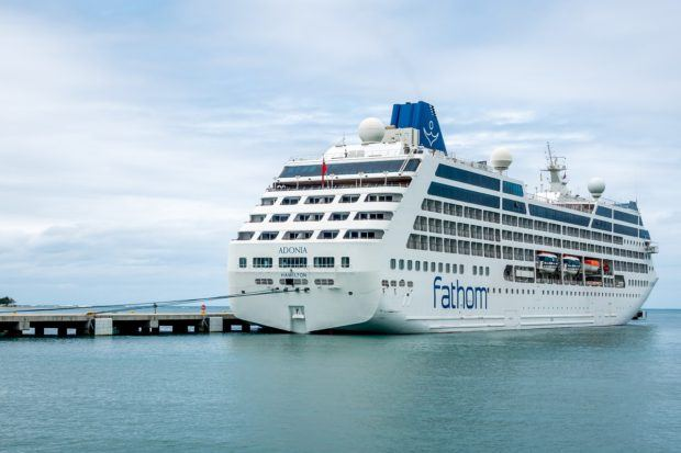 Fathom's Adonia cruise ship docked in the Dominican Republic
