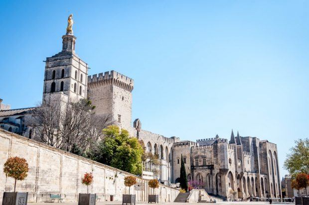 The Palace of the Popes in Avignon, France.