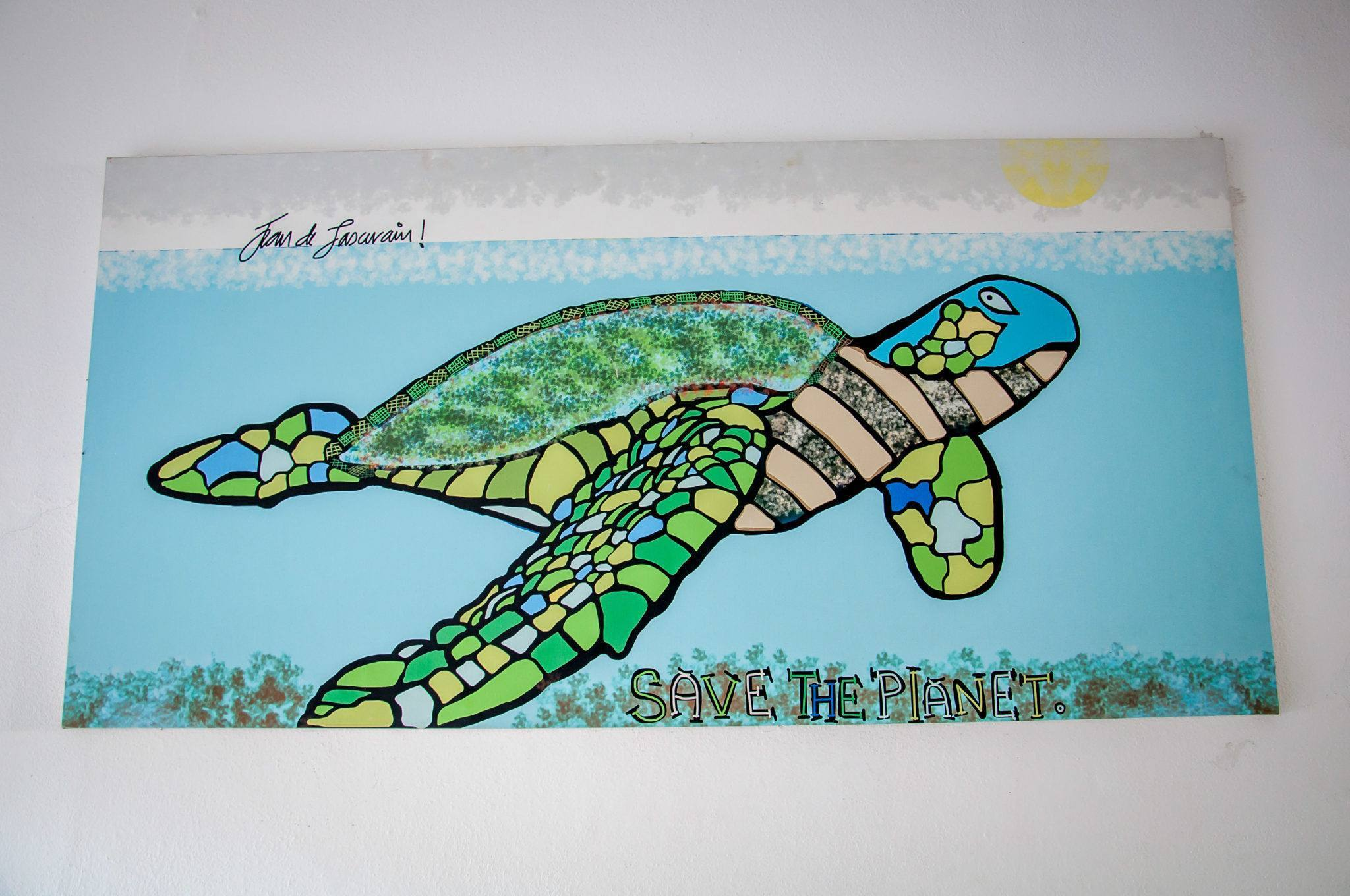 "Turtle painting that says ""Save The Planet"""