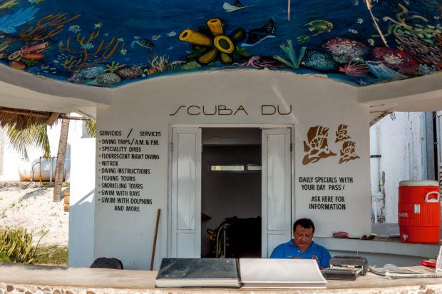 The Scuba Du dive shop onsite at the Hotel B Cozumel.