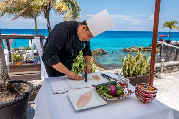 The Hotel B's chef does ceviche making demonstrations that also serve as lunch.