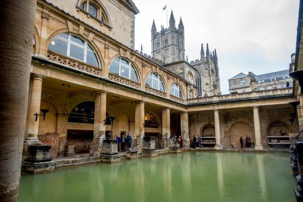 The Roman Baths in the city of Bath, England.