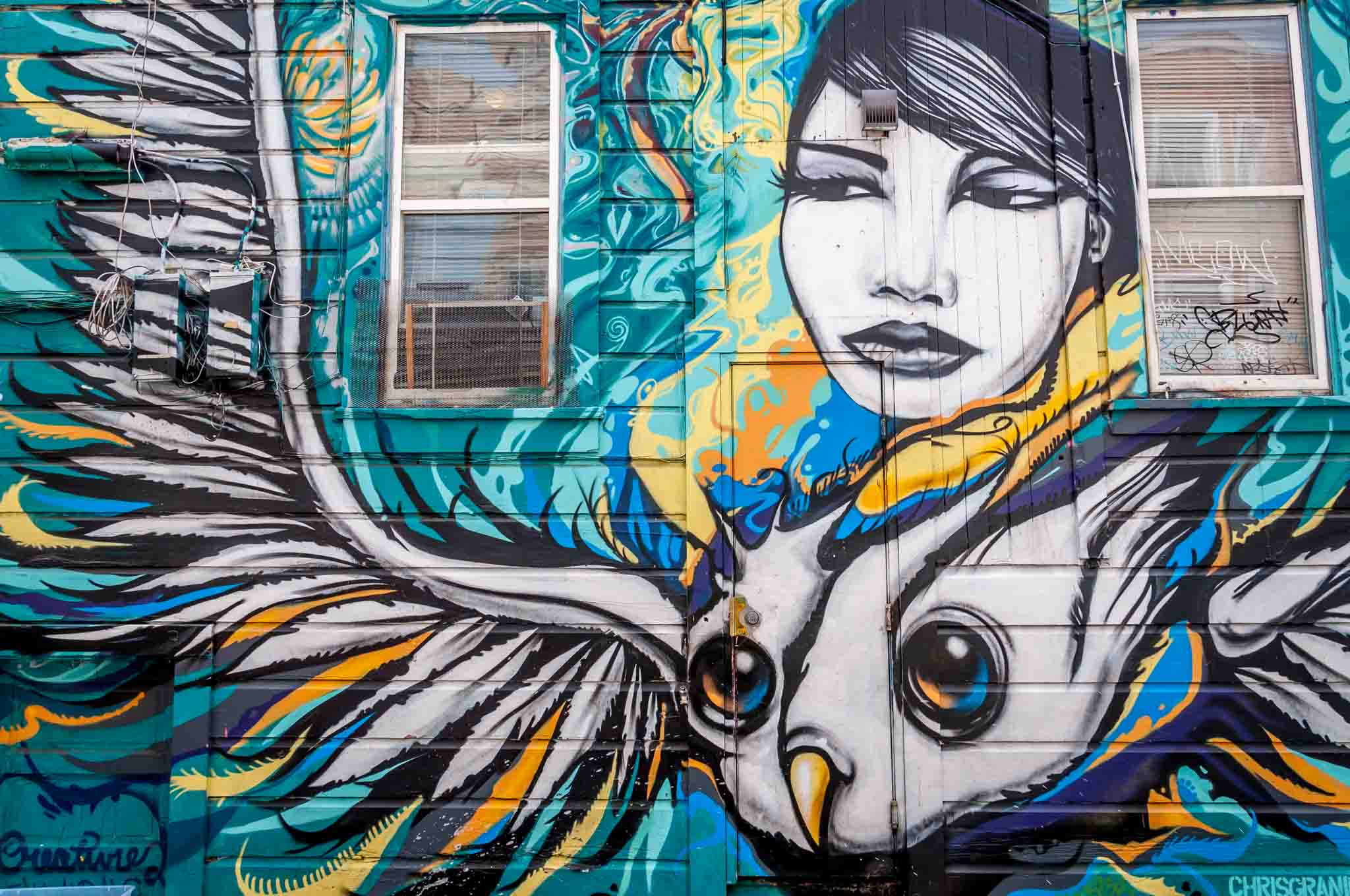 Street art mural in Clarion Alley of a woman and bird