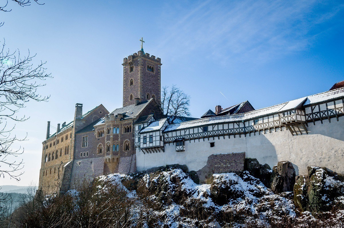 The Wartburg Castle above the town of Eisenach, Germany where Martin Luther sought refuge.