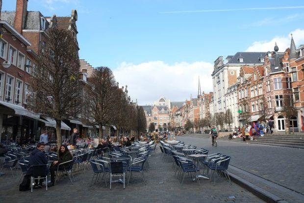 The Oude Market (Old Market) in Louven, Belgium.