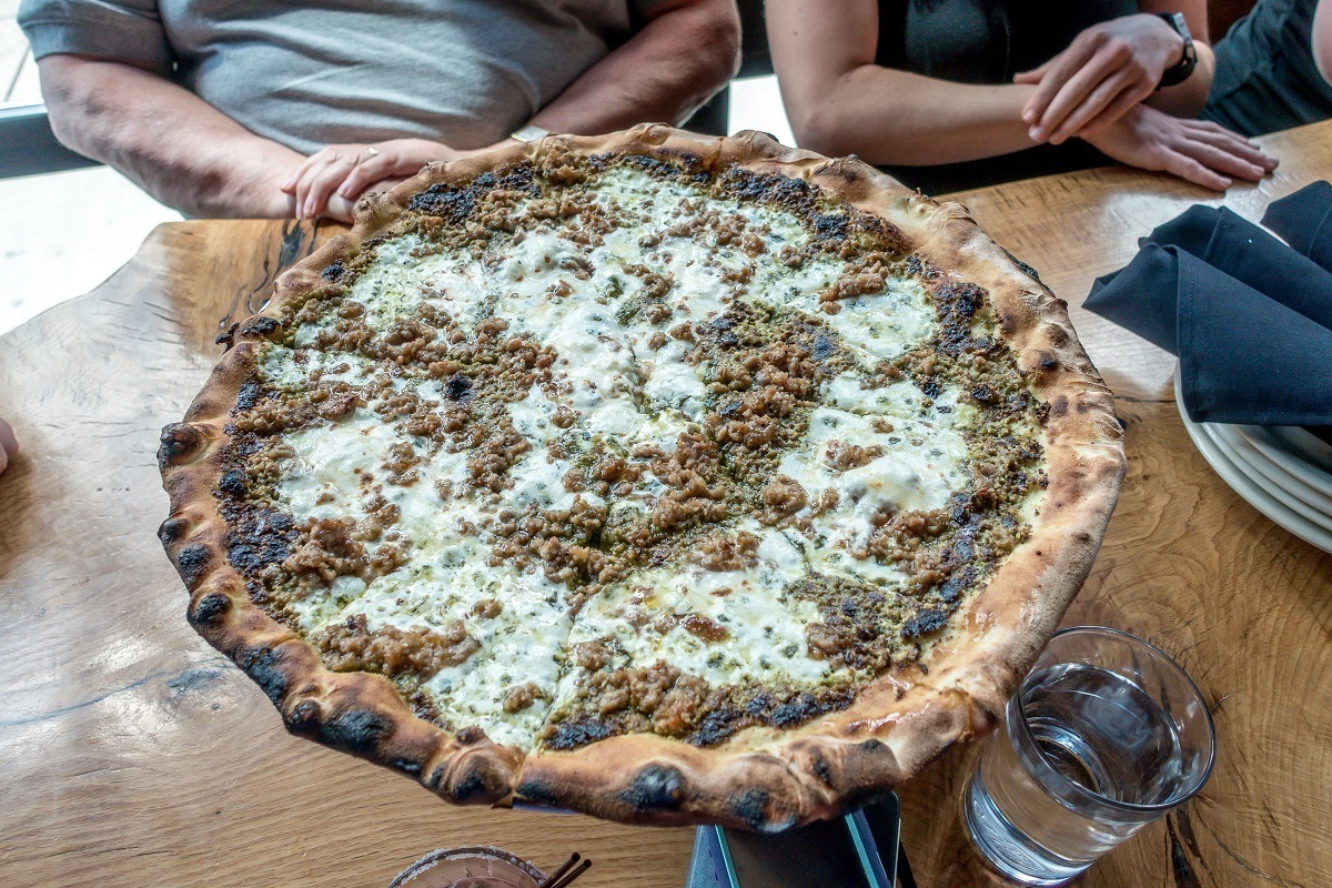 Coalfire's pistachio pesto pizza marries Italian technique with American ingredients