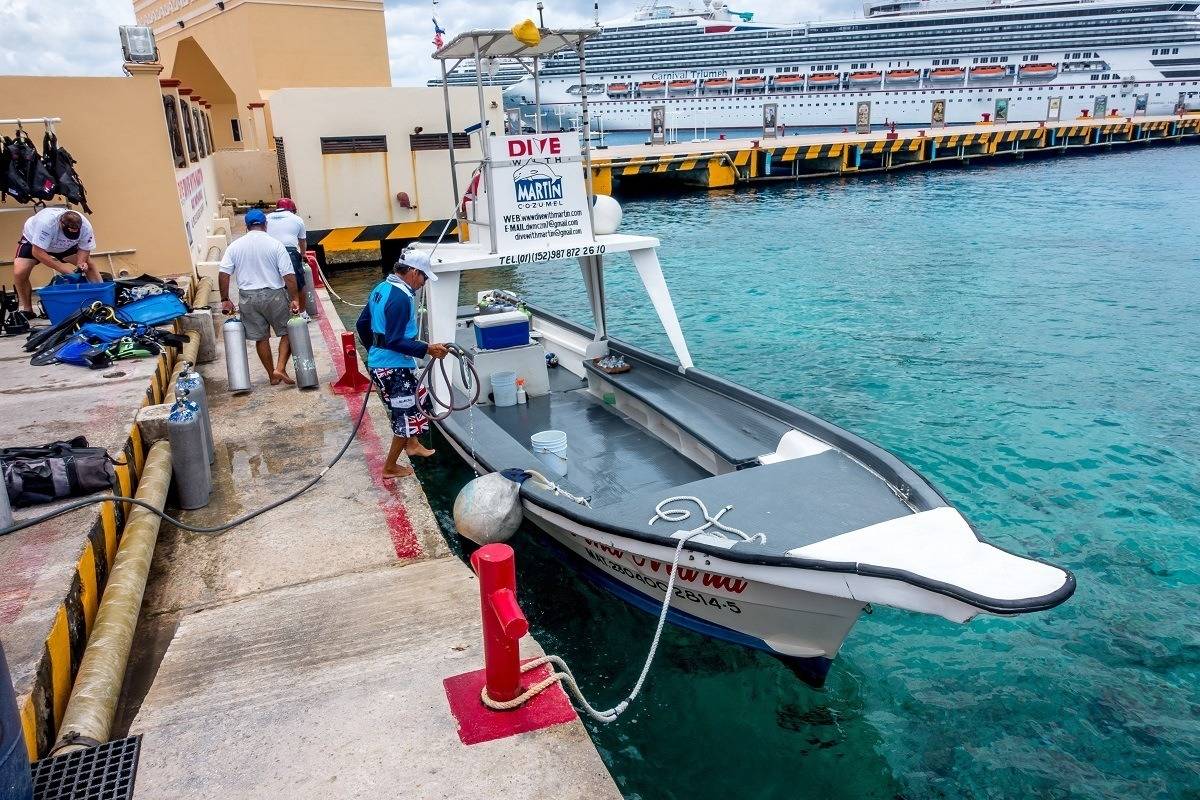 Dive with Martin has sleek, efficient dive boats in Cozumel.