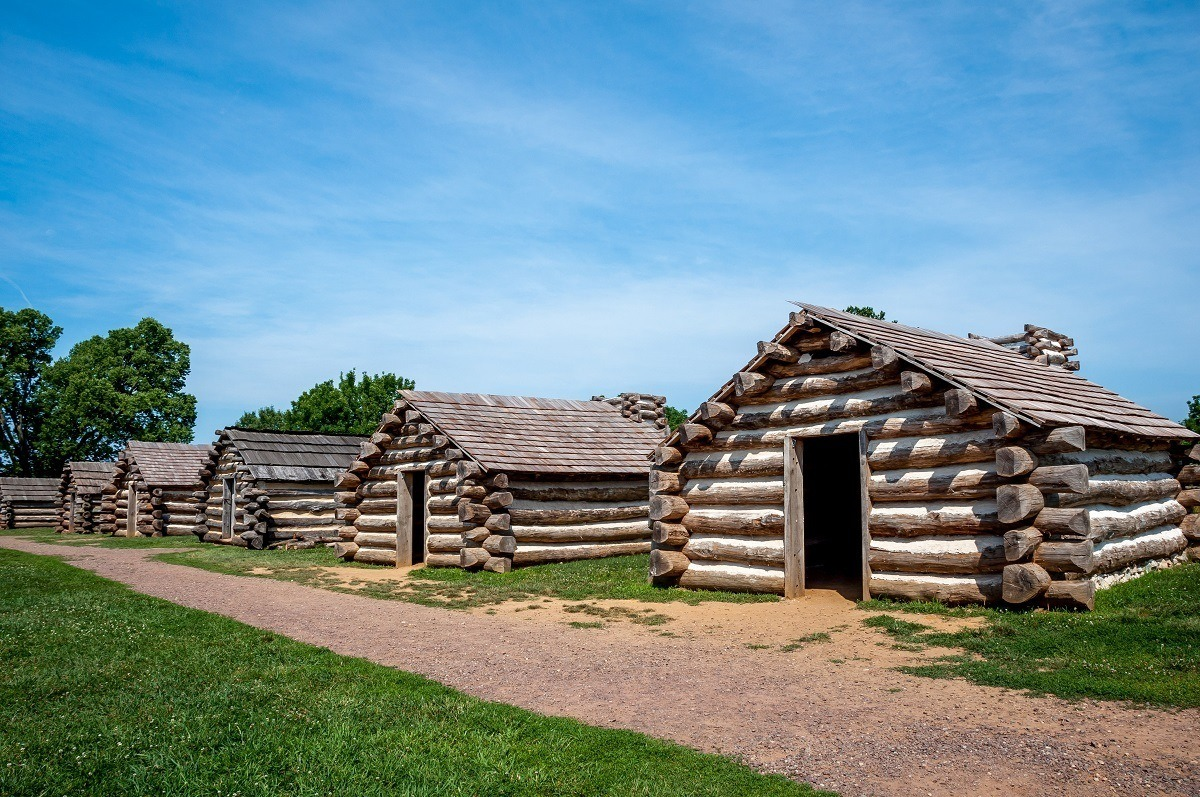 Replica soldiers log cabins at Valley Forge