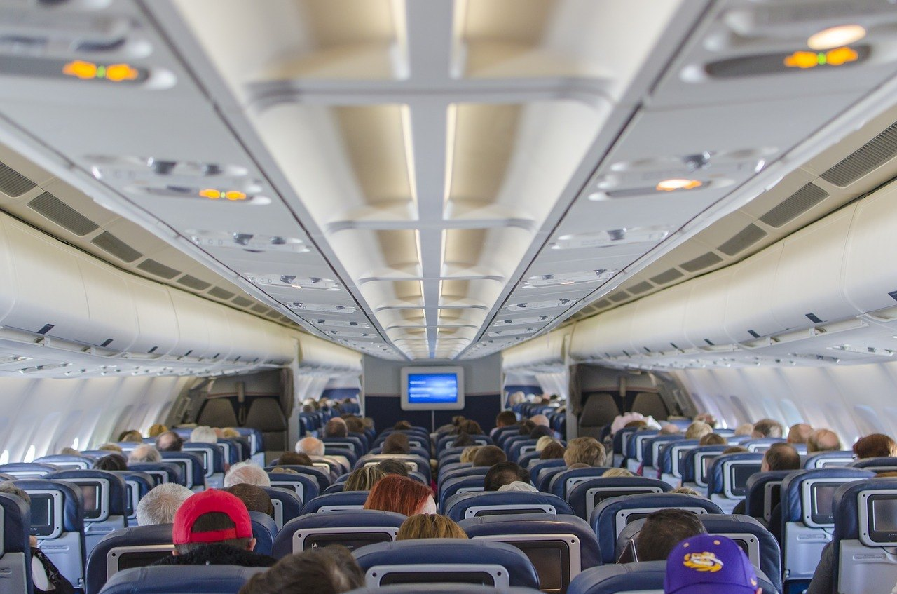 Interior of a plane on an international flight