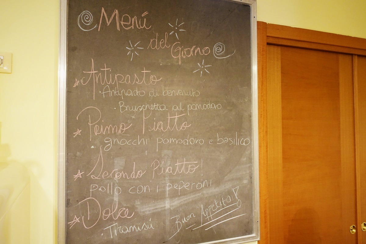 Menu for our cooking class in Rome, cooking with Nonna