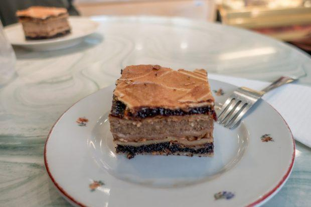 The delicious, multi-layered flodni is a traditional pastry. It's a must-try on any visit to the Budapest Jewish Quarter.