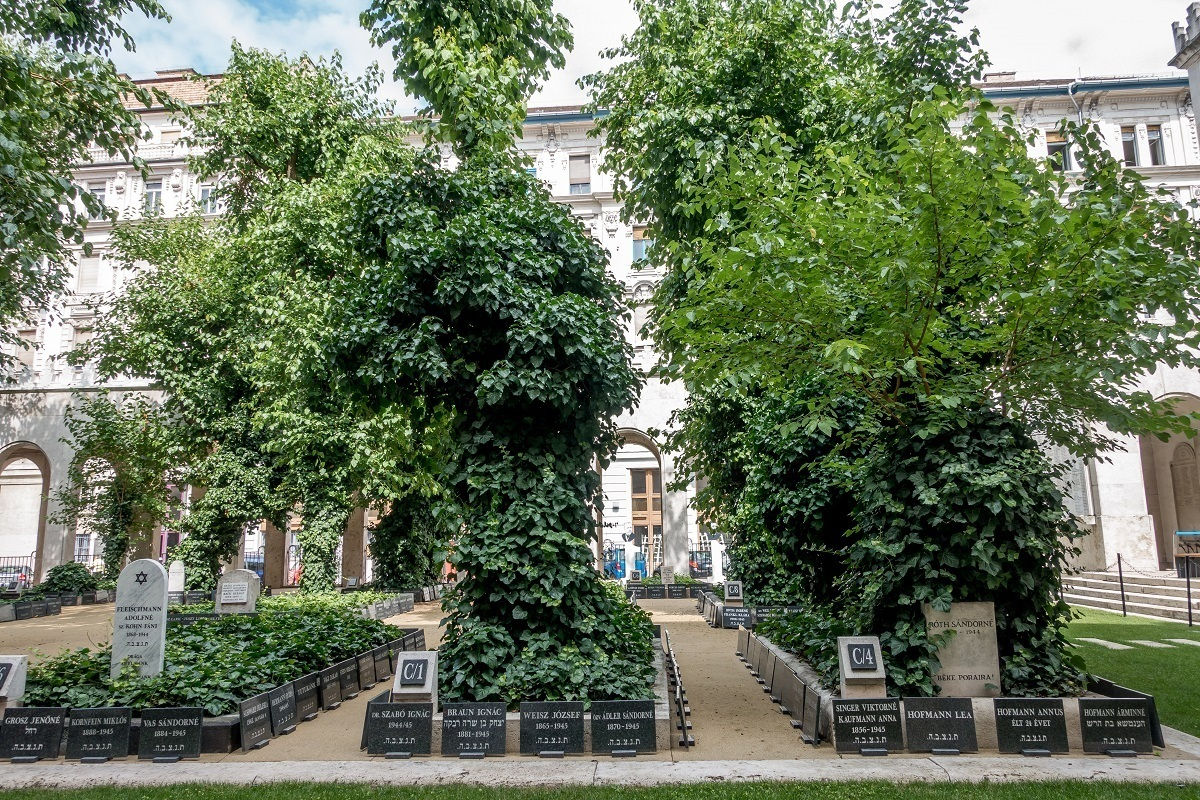 The burial ground adjacent to the Great Synagogue in Budapest is the final resting place of those killed in the ghetto during World War II