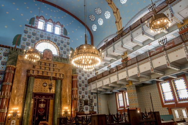 The charming Kazinczy Street Synagogue is the religious center for Orthodox Jews in Budapest, Hungary
