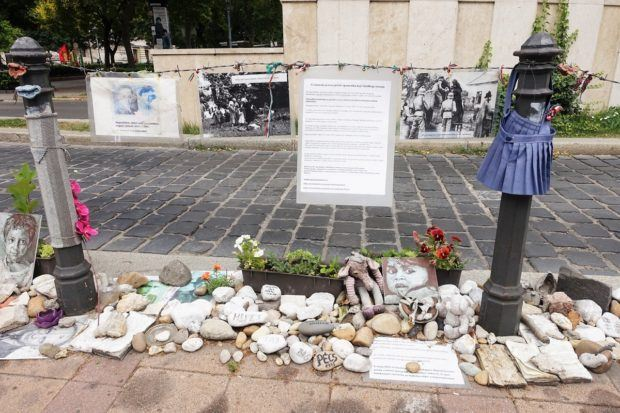 Some of the tributes left at Liberty Square in Budapest, Hungary