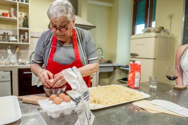 Making gnocchi at part of Eating Italy's Cooking with Nonna, a cooking class in Rome with an Italian grandmother