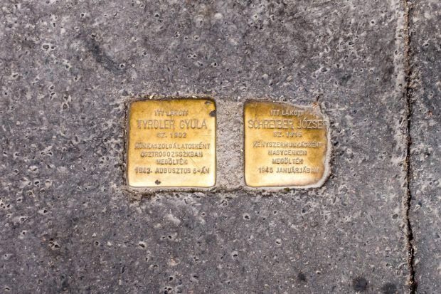 Memorial plaques at the homes of Jewish former residents of Budapest