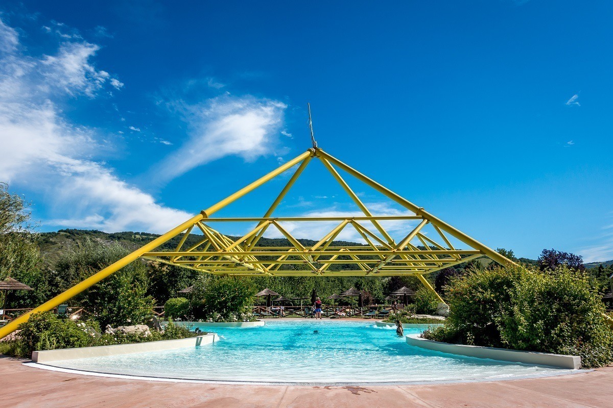 The pyramid pool at Villaggio della Salute Piu, a spa and water park in Emilia-Romagna, Italy