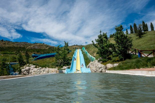 The slides at at the top of the hill at Villaggio della Salute Piu, a beautiful spa and waterpark near Bologna, Italy