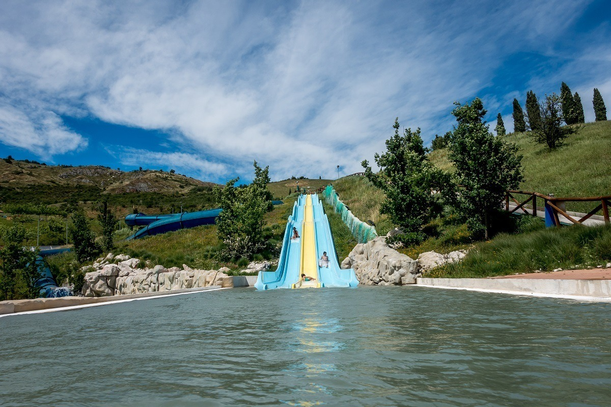 The slides at at the top of the hill at Villaggio della Salute Piu, a beautiful spa and water park near Bologna, Italy