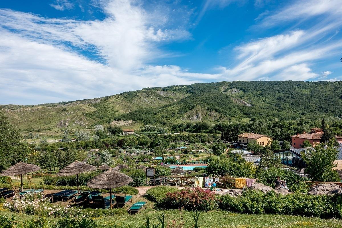Hillside pools and buildings of Villaggio della Salute Piu spa