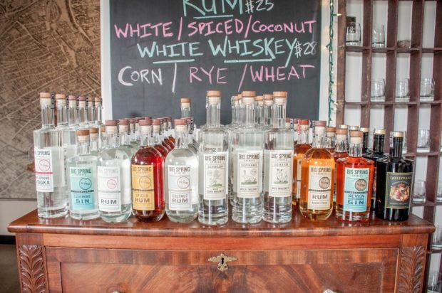 The offerings from Big Springs Spirits in Bellefonte, Pennsylvania. Big Springs is one of the distilleries on the Central PA Tasting Trail