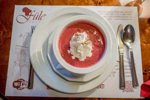 Cold fruit soup is a traditional Hungarian food