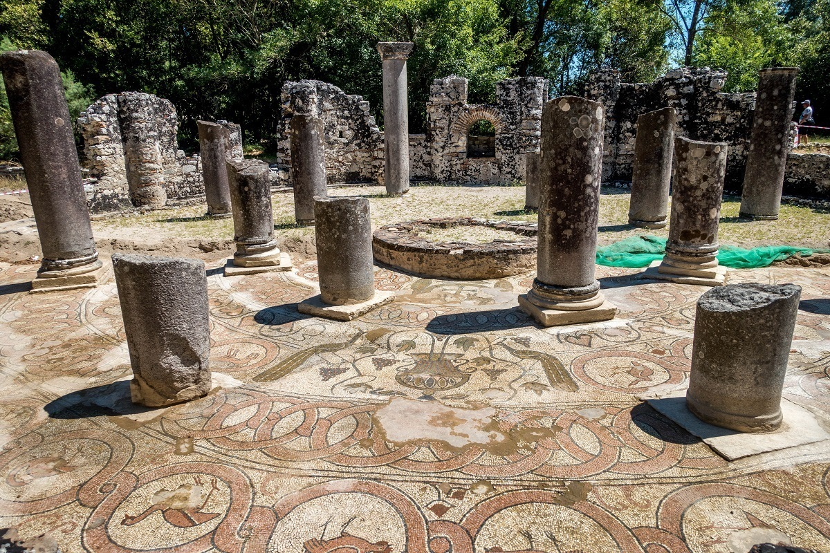 Mosaic in the baptistry at Butrint