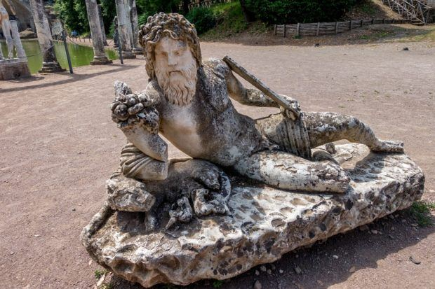 One of the statues at the Canopus pool at Hadrian's Villa, Tivoli, Italy