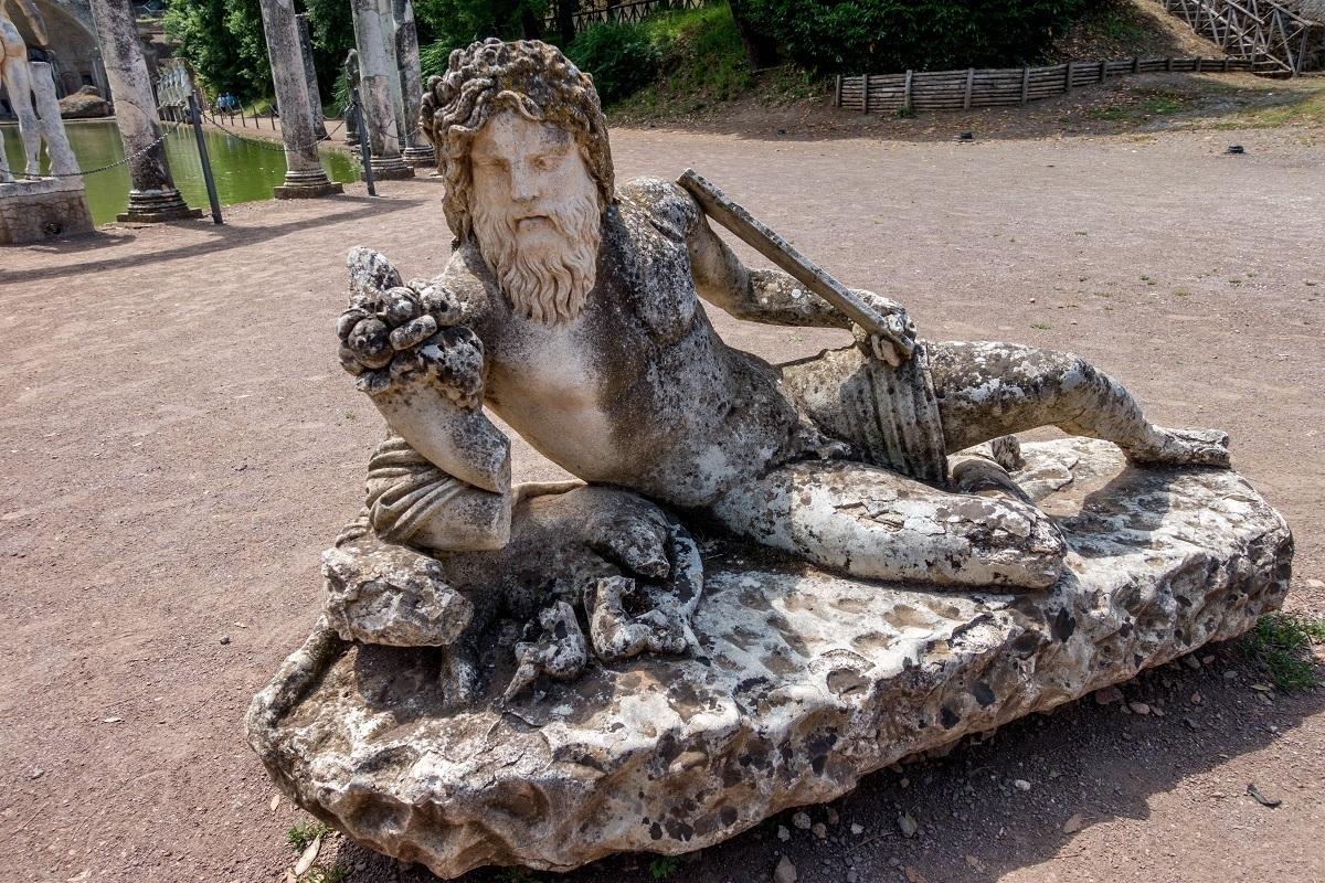 One of the statues at the Canopus pool at Hadrian's Villa, Tivoli, Italy