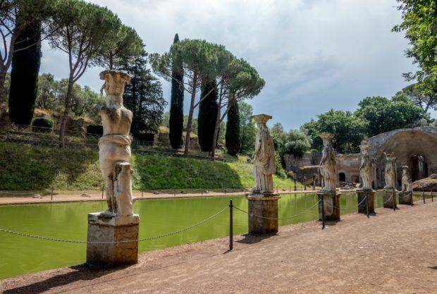 Statues lining the Canopus pool at Hadrian's Villa in Italy