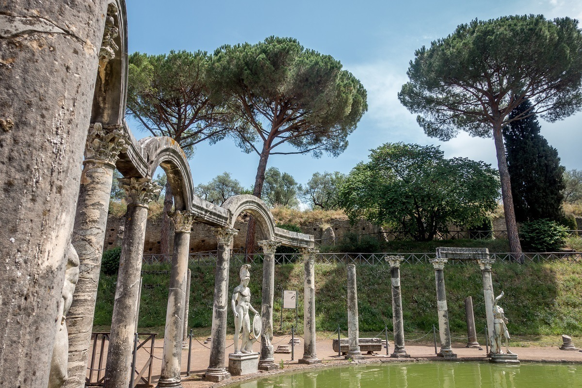 The Canopus pool is one of the central features of Hadrian's Villa in Tivoli, Italy
