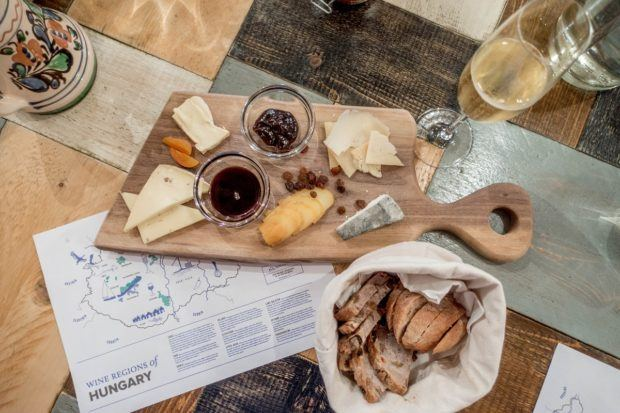 Hungarian cheeses and wines at Taste Hungary's Tasting Table in Budapest