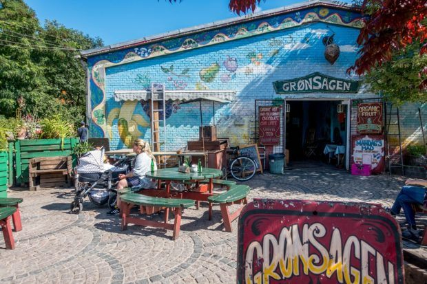 One of the many cafes in Freetown Christiania in Denmark