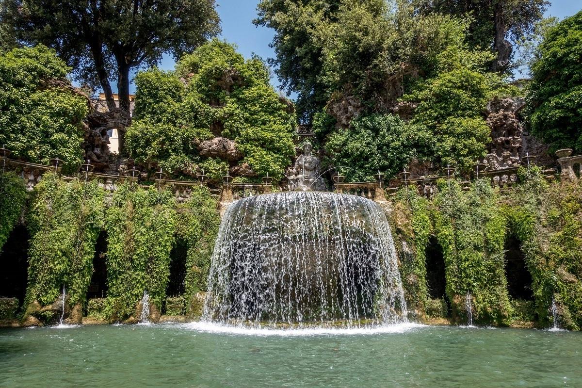 The Fountain of Tivoli, one of the most recognizable fountains in the garden of Villa d'Este in Tivoli